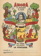 """MOUTARDE """"AMORA"""" - RARE BEAU PROTEGE CAHIER ANCIEN - FABLES LA FONTAINE - VOIR 2 SCANS - AVEC REVERS - Moutardes"""