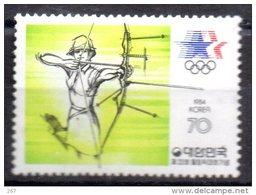 COREE DU SUD    N°  1240  * *     Jo 1984   Tir A L Arc - Archery
