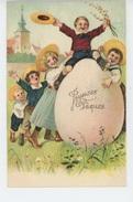 """ENFANTS - LITTLE GIRL - Jolie Carte Fantaisie Gaufrée Enfants Et Oeuf Géant De """"Joyeuses Pâques"""" (embossed PC) - Pasqua"""
