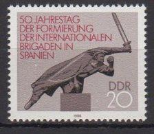 DDR / 50. Jahrestag Der Formierung Der Internationalen Brigaden In Spanien / MiNr.: 3050 - Nuovi