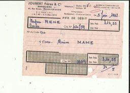 Facture De JOUBERT Freres & Cie BANQUIERS A Chalon-sur-Saone Reçu De Mme RENE  Y  Librairie A COUCHES Les Mines 71en1962 - Banca & Assicurazione