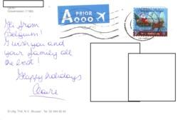 21E : Belgium Christmas Santa Claus, Sleigh Stamp Used On Gent Architecture Postcard - Belgium