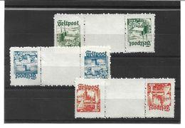 0957h: Feldpost Privatausgaben Spendenvignetten Dänische Legion, Mi. I-III, Ungeprüfter Zwischensteg- Satz - 1913-47 (Christian X)