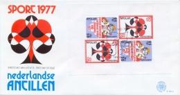 Netherlands Antilles 1977 FDC Mini Sheet Central American And Caribbean Bridge Championships In Aruba - Giochi
