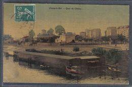 Carte Postale Toilée 94. Choisy-le-roi  Quai Choisy     Trés Beau Plan - Choisy Le Roi