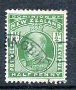 New Zealand 1909-12 KEVII - P.14 X 15 - ½d Deep Green Used (SG 387aa) - Gebraucht