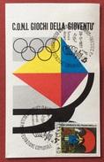 C.O.N.I. GIOCHI  DELLA GIOVENTU' CARTOLINA E ANNULLO SPECIALE + ADESIVO  DEL 1977 - Giochi