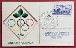 C.O.N.I. GIOCHI  DELLA GIOVENTU' CARTOLINA E ANNULLO SPECIALE  GIORNATA OLIMPICA ROMA 1970 - Giochi