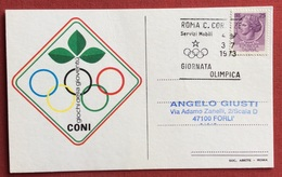 C.O.N.I. GIOCHI  DELLA GIOVENTU' CARTOLINA E ANNULLO SPECIALE  GIORNATA OLIMPICA ROMA 1973 - Giochi