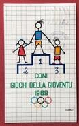C.O.N.I. GIOCHI  DELLA GIOVENTU' CARTOLINA  DEL  1969 VIAGGIATA Al Prof. CIVELLI - Giochi