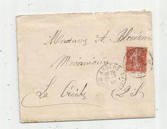 Timbre, Lettre , ANGERS , 1907 , Verso LA CRECHE , Deux Sèvres - Storia Postale