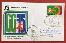 C.O.N.I. GIOCHI DELLA GIOVENTU'  CARTOLINA  ED ANNULLO SPECIALE PALERMO 1975 - Giochi