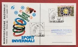 C.O.N.I. GIOCHI DELLA GIOVENTU'  CARTOLINA  ED ANNULLO SPECIALE PONTE DI LEGNO  1977 - Giochi