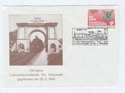 1992 AUSTRIA Steam TRAIN  EVENT COVER - NEUSTADT RAILWAY FACTORY 150th Anniv,   Stamps - Trains