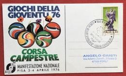 C.O.N.I. GIOCHI DELLA GIOVENTU'  CARTOLINA  ED ANNULLO SPECIALE  CORSA CAMPESTRE PISA 1976 - Giochi