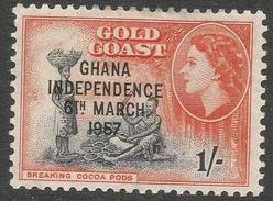 Ghana. 1957-58 Stamps Of Gold Coast O/P. 1/- MH. SG 178 - Ghana (1957-...)