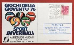 C.O.N.I. GIOCHI DELLA GIOVENTU'  CARTOLINA  ED ANNULLO SPECIALE  SPORT INVERNALI  LURISIA TERME 1976 - Giochi
