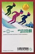 C.O.N.I. GIOCHI DELLA GIOVENTU'  ANNULLO SPECIALE  PREDAZZO 1981 FIRME AUTOGRAFE DI NINO DEGANUTTI ,ATLETI ED ALTRI - Giochi
