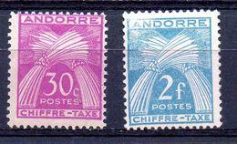 ANDORRA FRANCESA. AÑO 1943-1946. EDIFIL TASA 22 - 26 (MH) - Unused Stamps