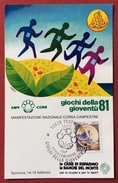 C.O.N.I. GIOCHI DELLA GIOVENTU'  ANNULLO SPECIALE  CORSA CAMPESTRE  TAORMINA 1981 - Giochi