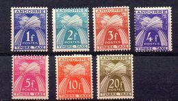 ANDORRA FRANCESA. AÑO 1946-1950. EDIFIL TASA 33/39 (MH) - Unused Stamps
