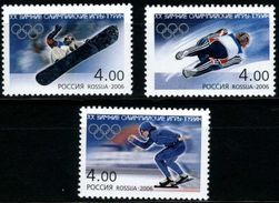 Russia 2006 Winter Olympic Games Turin 20th Olympics Sports Speed Skating Ice Skateboard Luge Stamps MNH Scott 6935-6937 - Skateboard