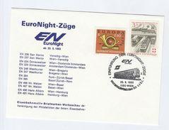 1993 FIRST EuroNight NIGHT TRAIN  ZUGE EVENT COVER Wien AUSTRIA Stamps Railway - Trains
