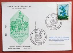 """GIOCHI DELLA GIOVENTU' CARTOLINA ED  ANNULLO SPECIALE  TRIESTE 1982  CIRCOLO SPORTIVO """"INTER 1904""""  N.408 - Giochi"""