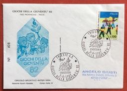 """GIOCHI DELLA GIOVENTU' BUSTA  ED  ANNULLO SPECIALE  TRIESTE 1982  CIRCOLO SPORTIVO """"INTER 1904""""  N.408 - Giochi"""