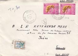 LETTRE. 8/1/1968. LOME TOGO PAIRE CAMELEON. TAXE FLEUR O.3O - 1961-....