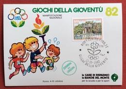 C.O.N.I. GIOCHI DELLA GIOVENTU' CARTOLINA E  ANNULLO SPECIALE  ROMA 1982 + CERIMONIA DI CHIUSURA - Giochi