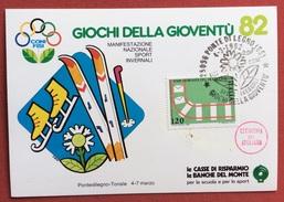 C.O.N.I. GIOCHI DELLA GIOVENTU' CARTOLINA E  ANNULLO SPECIALE  SPORT INVERNALI  PONTE DI LEGNO 1982 + CERIMONIA APERTURA - Giochi