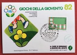 C.O.N.I. GIOCHI DELLA GIOVENTU' ANNULLO SPECIALE  CORSA CAMPESTRE  SALSOMAGGIORE TERME 1982  + CERIMONIA CHIUSURA - Giochi