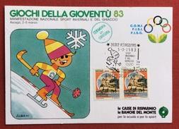C.O.N.I. GIOCHI DELLA GIOVENTU' CARTOLINA E ANNULLO SPECIALE SPORT INVERSALI ASIAGO 1983  + CERIMONIA CHIUSURA - Giochi