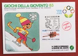 C.O.N.I. GIOCHI DELLA GIOVENTU' CARTOLINA E ANNULLO SPECIALE SPORT INVERSALI ASIAGO 1983 + CERIMONIA APERTURA - Giochi