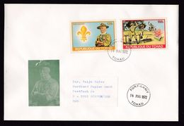 Chad: Cover To Germany, 1972, 2 Imperforated Stamps, Scouting, Scouts, Baden-Powell, Rare Real Use (traces Of Use) - Tsjaad (1960-...)