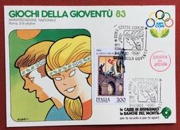 C.O.N.I. GIOCHI DELLA GIOVENTU' CARTOLINA E ANNULLO SPECIALE ROMA 1983 + CERIMONIA DI APERTURA - Giochi