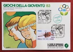 C.O.N.I. GIOCHI DELLA GIOVENTU' CARTOLINA E ANNULLO SPECIALE ROMA 1983 + CERIMONIA DI CHIUSURA - Giochi