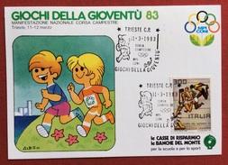 C.O.N.I. GIOCHI DELLA GIOVENTU' CARTOLINA E ANNULLO SPECIALE TRIESTE 1983 - Giochi