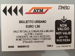 Ticket De Métro / Subway Ticket Milan - Europe