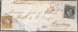 PARIS AVRIL 1852 ENVELOPPE CIRCULEE A HAMBOURG AVEC CERES YVERT NR. 1 ET CERES NR. 4 MANQUE UN TIMBRE EX COLLECTION MARQ - 1849-1850 Cérès