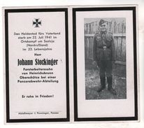 Nr.  9163,  Deutsche Wehrmacht,  Sterbebild, Oberschütze Panzerabwehr-Abteilung Johann Stockinger, Gefallen Bei Ssolzja, - Guerre 1939-45