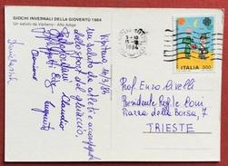 AUTOGRAFI ATLETI E ACCOMPAGNATORI DA VIPITENO 1984   SU CARTOLINA GIOCHI INVERNALI  DELLA GIOVENTU' - Giochi