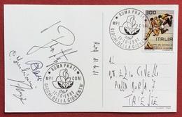 AL DR.ENZO CIVELLI  C.O.N.I. DUE CARTOLINE  GIOCHI  DELLA GIOVENTU' ROMA 1981 CON VARIE FIRME DI ATLETI E ACCOMPAGNATORI - Giochi