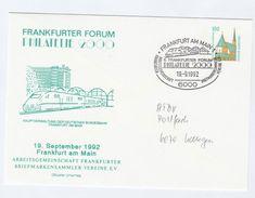 1992 FRANKFURT ICE TRAIN Special POSTAL STATIONERY COVER Frankfurter Forum Philatelie 2000 Germany Railway - Trains