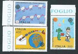 Italia 1983; Giornata Del Francobollo. Disegni Di Ragazzi. Serie Completa Di Bordo Sinistro. - 6. 1946-.. Republic