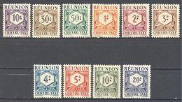 Reunion: Yvert Taxe N° 26/35*; Cote 8.50€ - Réunion (1852-1975)