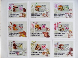 Sale! LUXE Cards Blocks OFFICIAL PRODUCT St.Tome E Principe 2008 Mushrooms Champignons Orchids Flowers 9 Cartes - Sao Tome And Principe