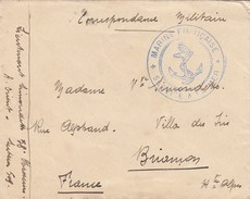 LETTRE EN FM.  58° CHASSEUR ARMEE D'ORIENT.MARINE FRANCAISE SERVICE A LA MER - Oorlog 1914-18