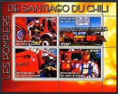 2004, POMPIERS DE SANTIAGO DU CHILI, CAMIONS, GRANDE ECHELLE, 4 Valeurs En Feuillet, Neufs / Mint. RcivChili - Vignettes De Fantaisie